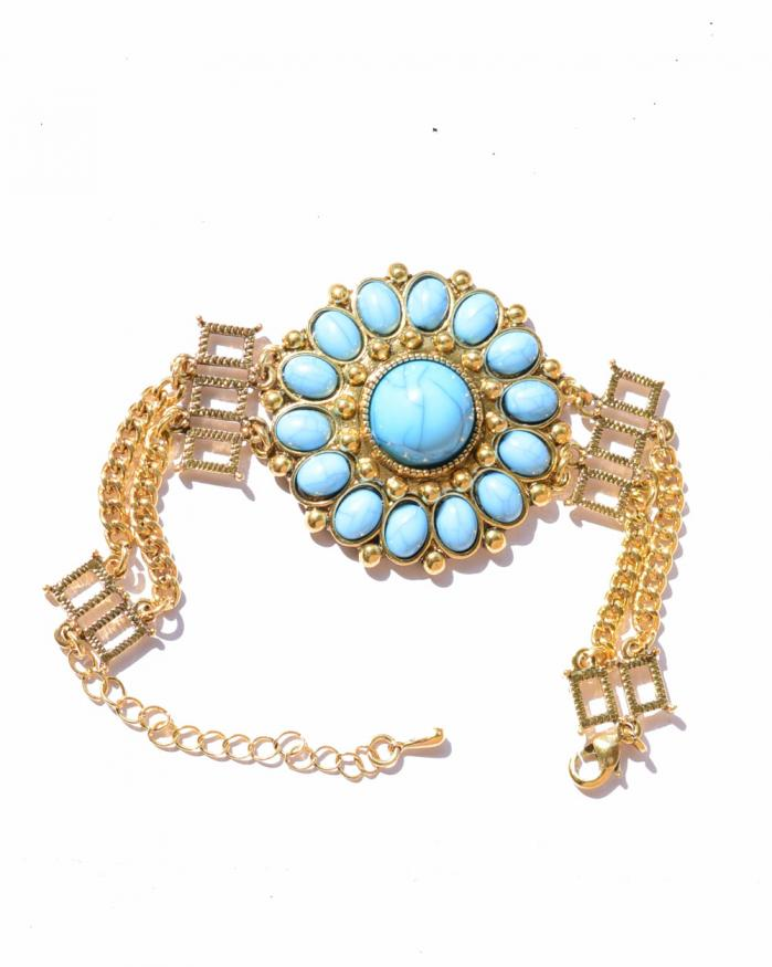 bohemian blue gold plated chain bracelet