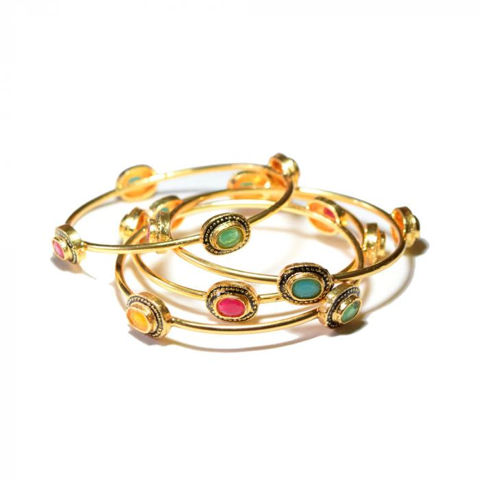 gold plated multicolor stone bangle set