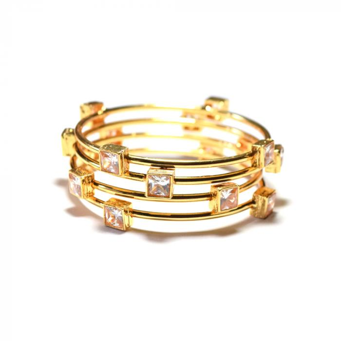 polki clear stone gold plated bangle set of 4 for women