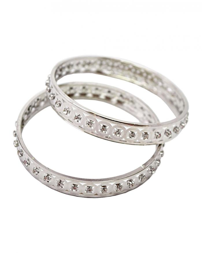 Platinum plated cubic zirconia CZ diamond bangle set from india