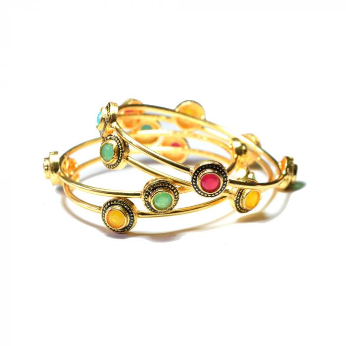 Gold plated bangle set ,Polki work, colored stone, multi color appearance