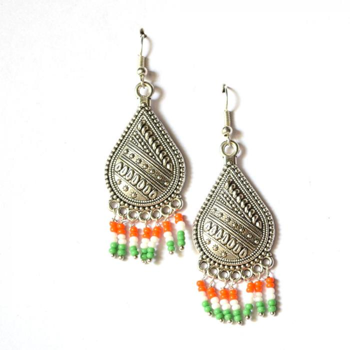 Oxidized Silver Independence Day Earrings