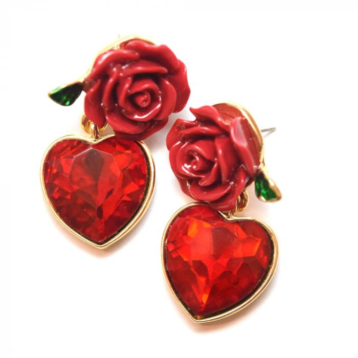 Romantic gift for girlfriend rose and heart earrings