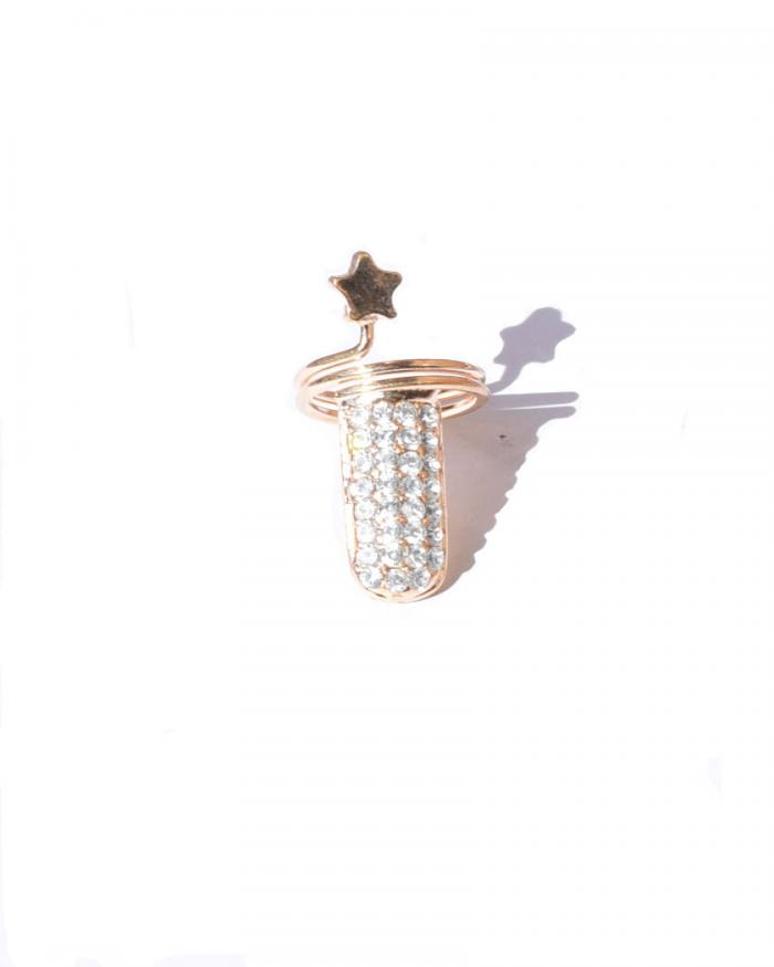 Nail shape finger nail ring to be wore on nails gold plated and cz stones star design